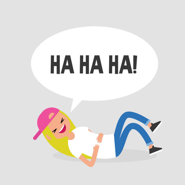 Rolling on the floor laughing. Conceptual illustration. Young female character having fun. Humor. Flat editable vector illustration, clip art vector art illustration