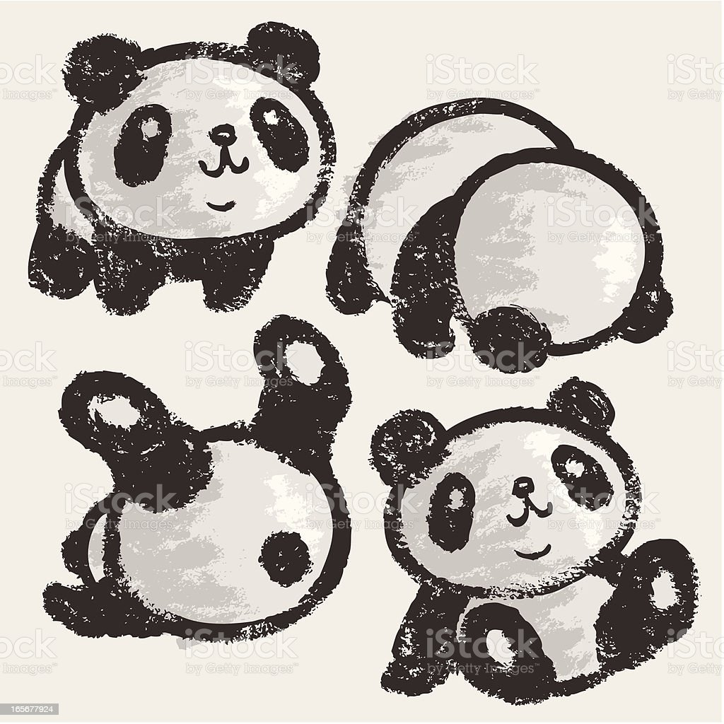 Rolling panda vector art illustration