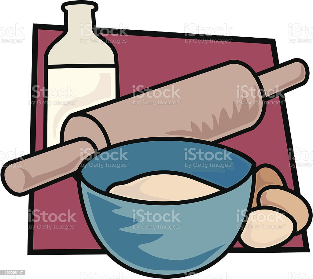 Rolling Pin and Bowl royalty-free rolling pin and bowl stock vector art & more images of baking