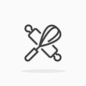 istock Rolling pin and whisk icon in line style. 1214571320