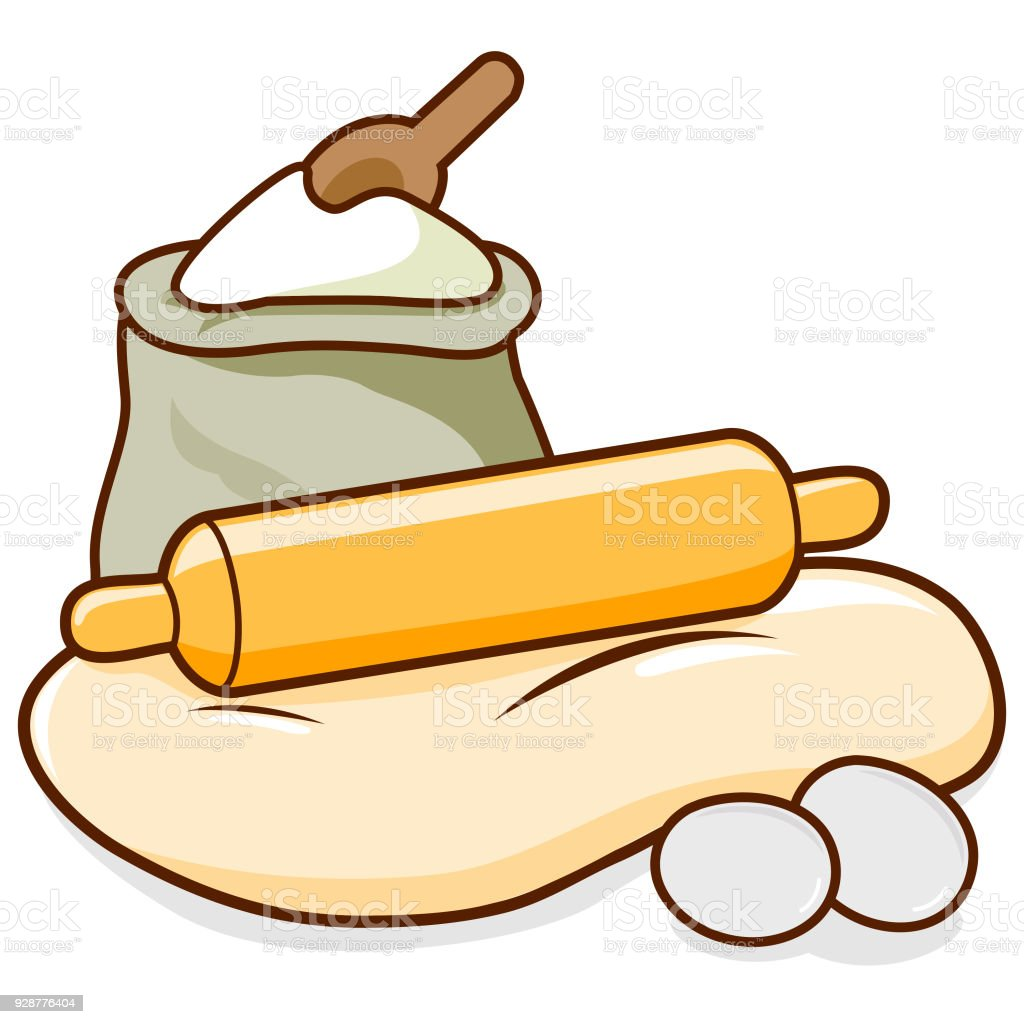 Rolling pin, dough and flour vector art illustration