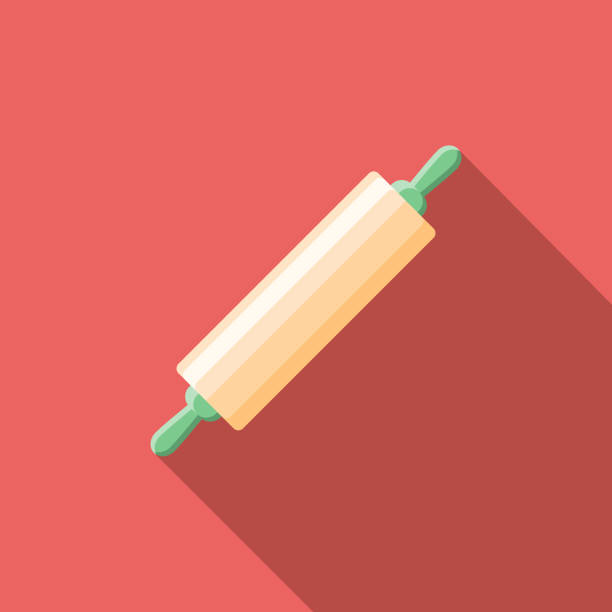 Rolling Pin Flat Design Baking Icon A flat design styled baking and bakery icon with a long side shadow. Color swatches are global so it's easy to edit and change the colors. rolling pin stock illustrations