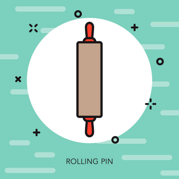 Rolling Pin Thin Line Kitchen Tools Icon A flat design/thin line icon on a colored background. Color swatches are global so it's easy to edit and change the colors. File is built in CMYK for optimal printing and the background is on a separate layer. rolling pin stock illustrations