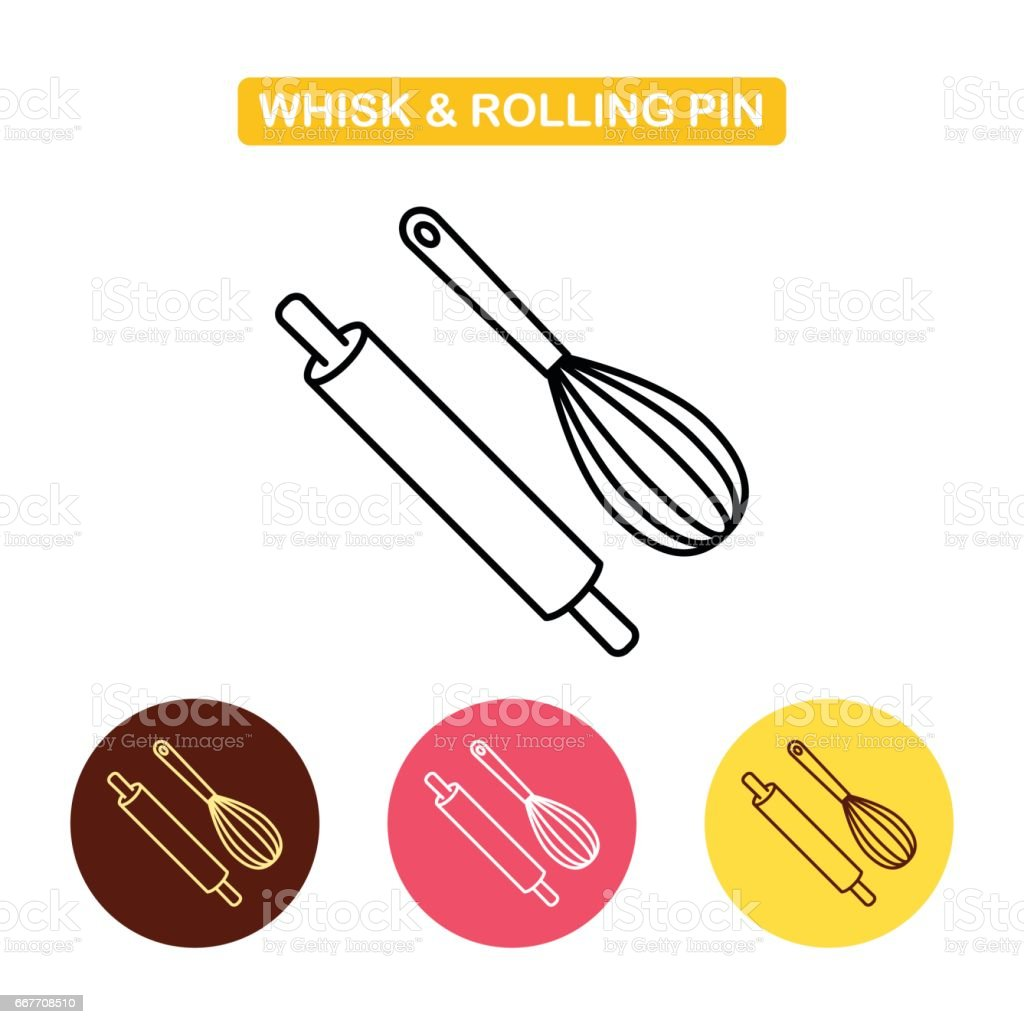 Rolling pin with whisk icon. Kitchen tools set vector art illustration