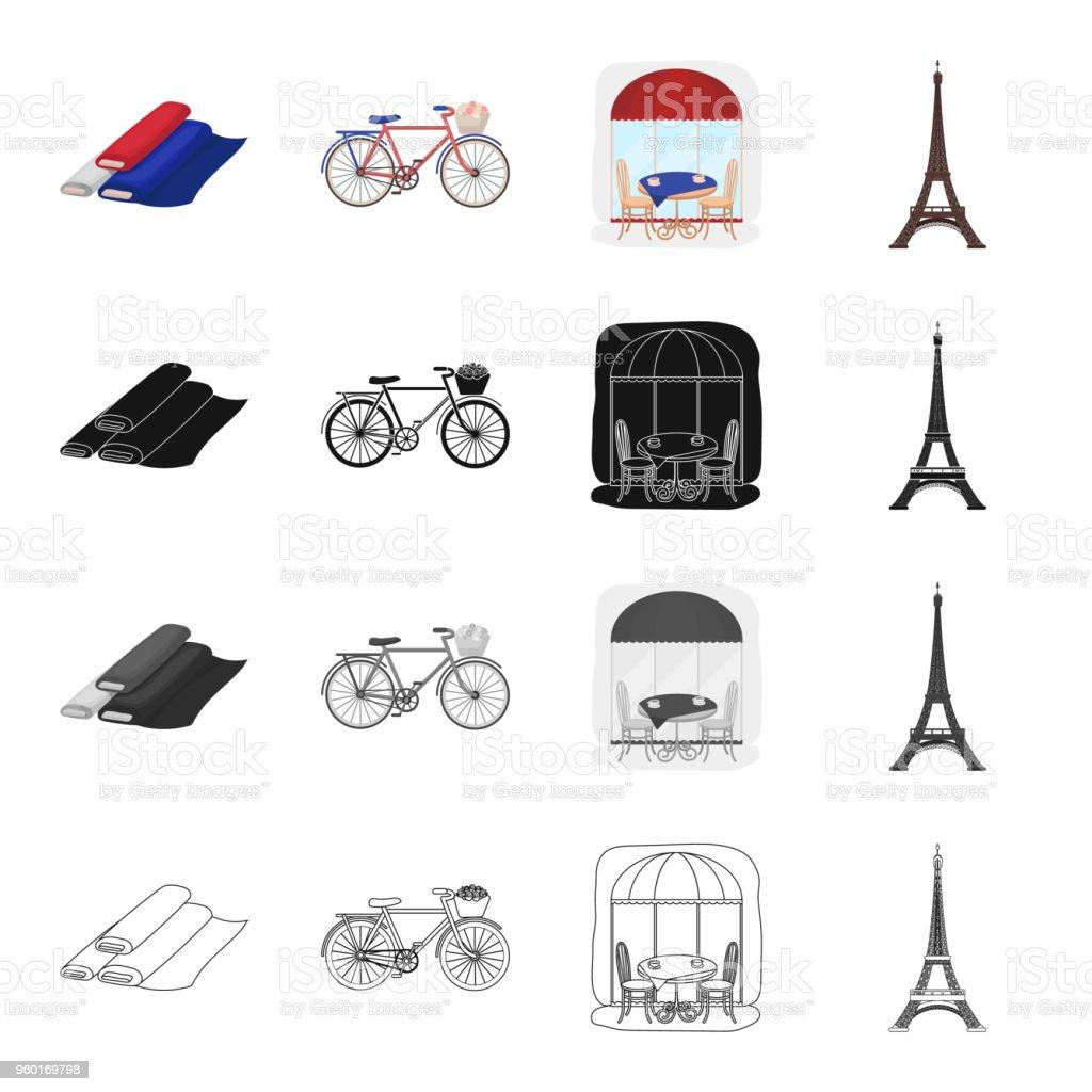 Ilustra o de rolos de tecido tricolor bicicleta caf for E mobilia paris