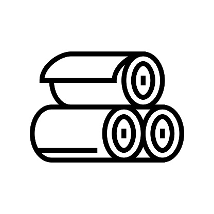 rolls of textile line icon vector illustration