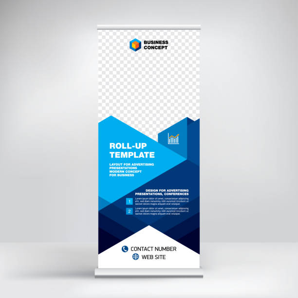 roll-up, advertising banner template, stand for presentations, exhibitions, promotional products, conferences, seminars, photo placement, text, geometric blue background - vertical stock illustrations