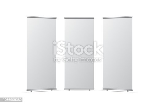 Blank roll up banner stand. Empty  mockup for presentation. Isolated vector illustration on white background.