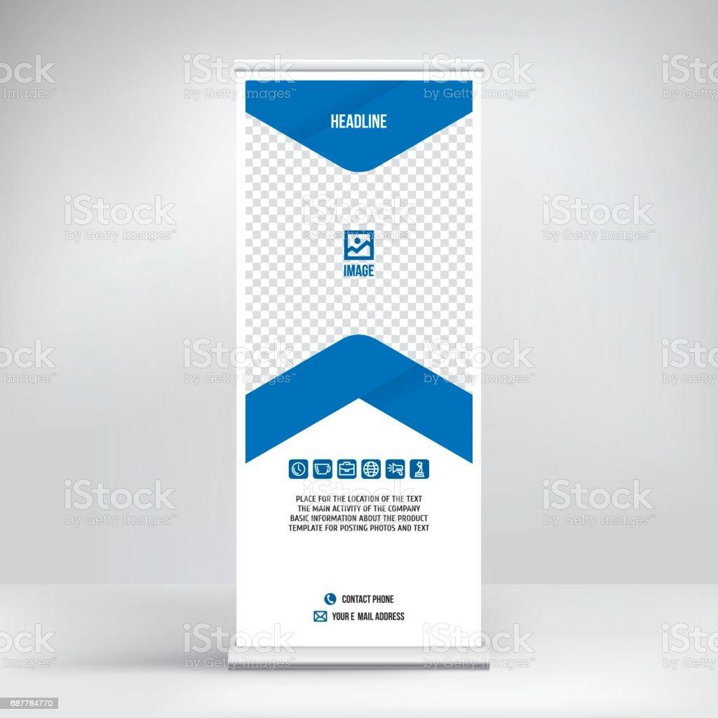 Roll-up banner design vector art illustration