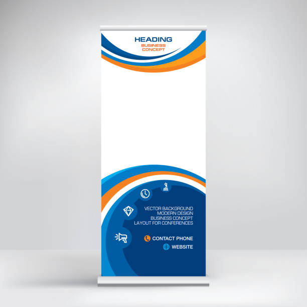 roll-up banner, stand vector. graphic template for posting photos and text decoration of exhibitions, conferences, seminars, advertising, business concept. - vertical stock illustrations, clip art, cartoons, & icons