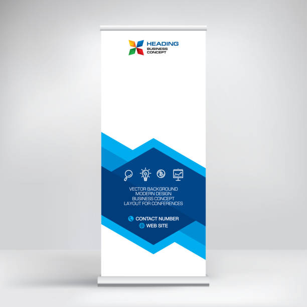 roll-up banner, stand vector. graphic template for posting photos and text decoration of exhibitions, conferences, seminars, advertising, business concept. - standing stock illustrations