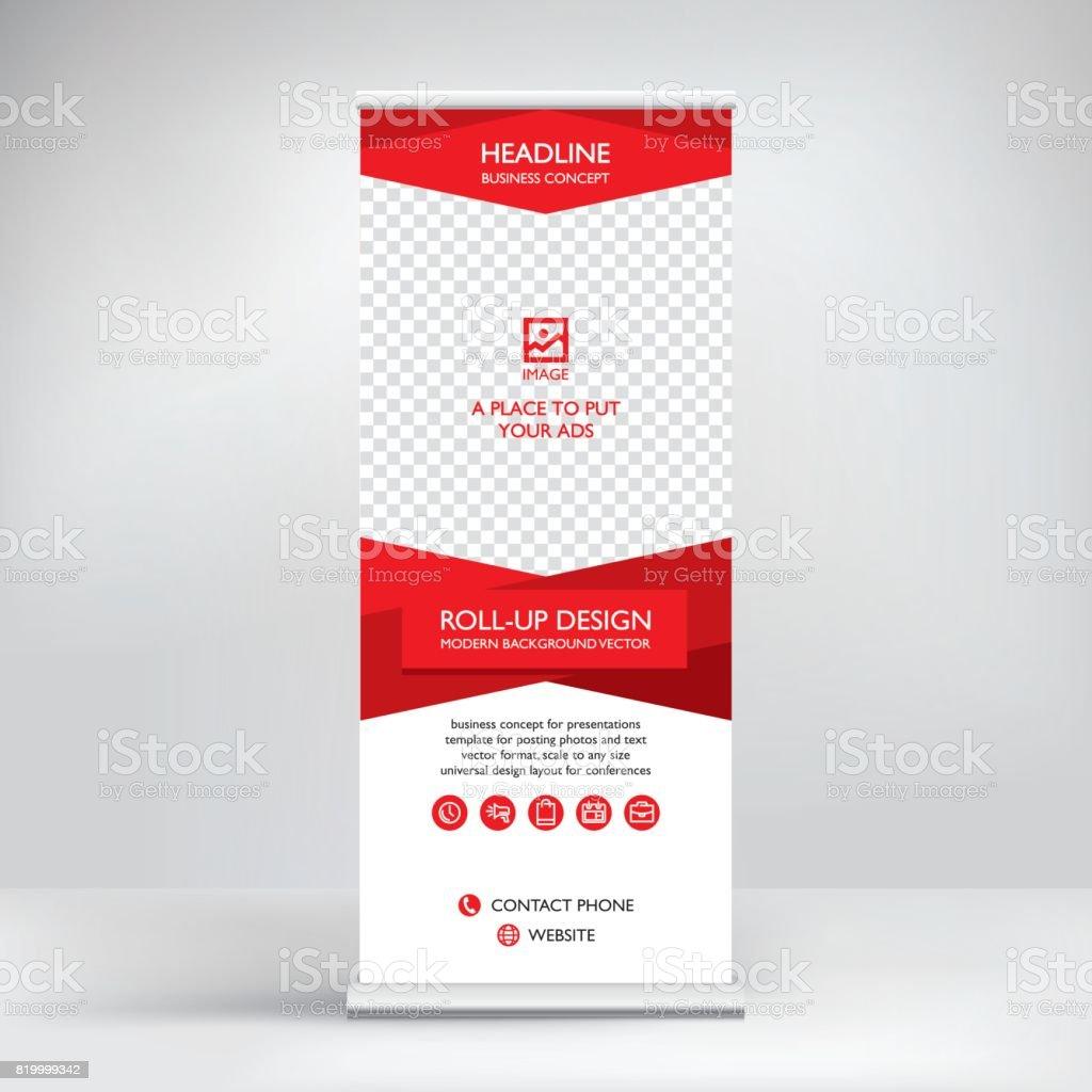 Roll-up banner, stand vector. – artystyczna grafika wektorowa