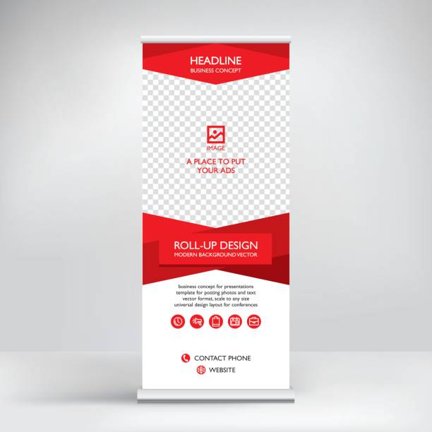 Roll-up banner, stand vector. vector art illustration