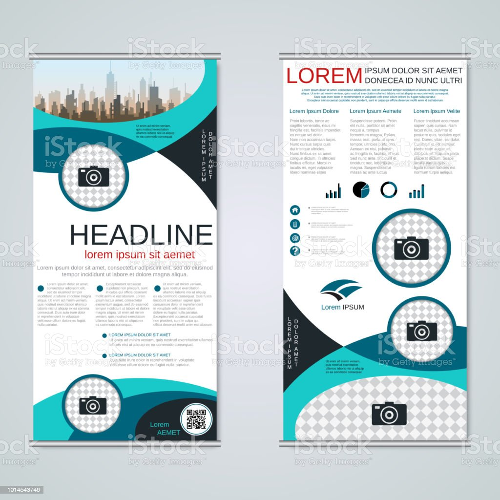 rollup twosided banner vector template stock vector art more