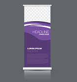 Roll up banner stand template. Abstract banner background for design,  business, education, advertisement. Purple color. Vector  illustration.