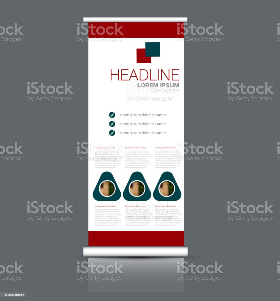 rollup vertical banner stand template abstract background concept