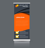 Rollup vertical banner stand template. Abstract background concept for business, education, presentation, advertisement. Editable vector illustration. Orange color.