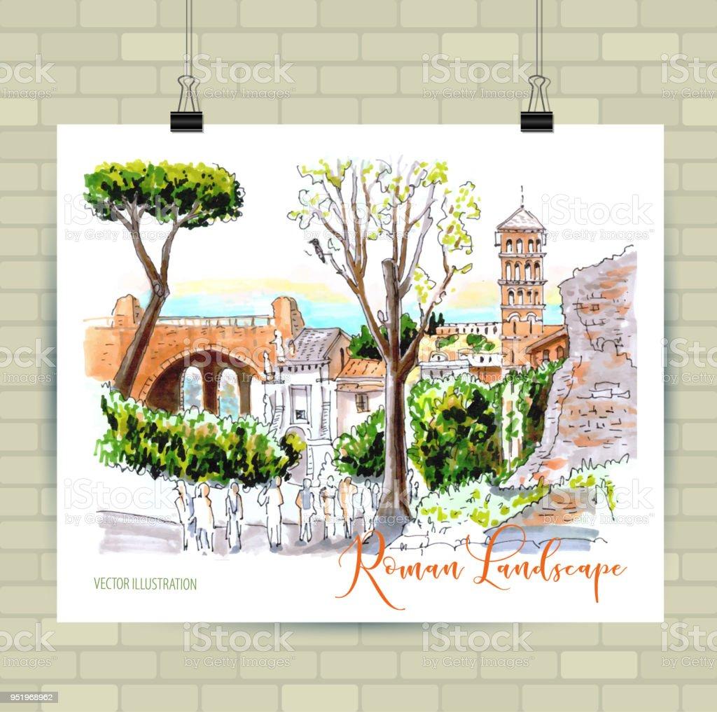 Roma Ruinen In Rom Italien Illustration Wie Von Hand Gezeichnet ...