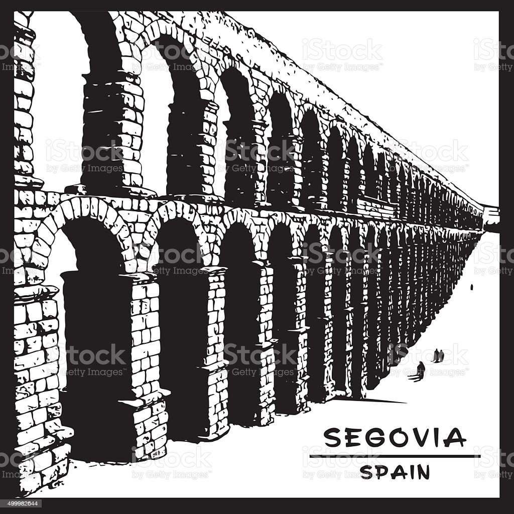 Roman aqueduct of Segovia. National symbol of Spain. vector art illustration