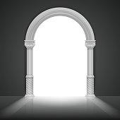 Roman arch with antique column. Vector title frame design