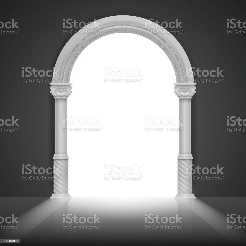 Arc romain avec colonne antique. Design de cadre pour le titre Vector - Illustration vectorielle