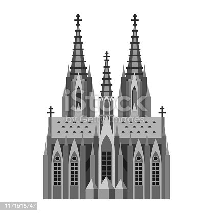 Roman Catholic cathedral in Cologne. German landmark illustration.