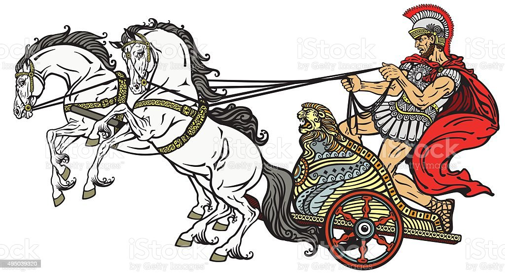 Roman Chariots Drawings Roman Chariot Stock Ve...
