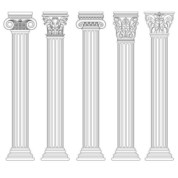 로마 열 설정, 그리스 기둥, 고 대 건축 - 아치 건축적 특징 stock illustrations