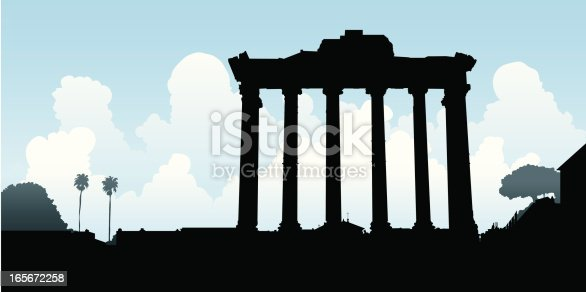Silhouette of stone column ruins in Rome, Italy.