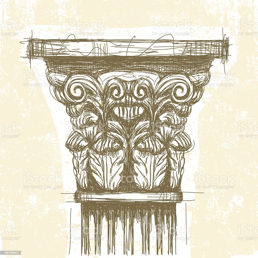 Roman Corinthian Capital vector art illustration