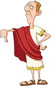 Roman emperor with thumb down