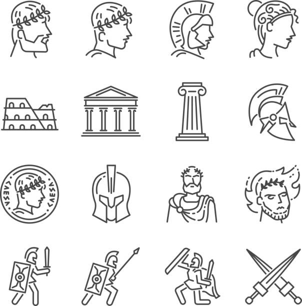roman empire line icon set. included the icons as soldier, column, coliseum, sanctuary, emperor and more. - empire stock illustrations