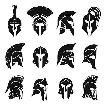 Roman gladiator helmet set. Collection of black silhouettes of ancient headgear of Spartan warriors or soldiers isolated on white background. Front and side views. Flat monochrome vector illustration.