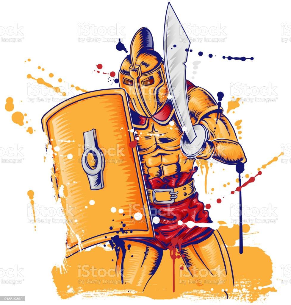 Mascotte De Guerrier Romain Gladietor Isole Sur Blanc Cliparts
