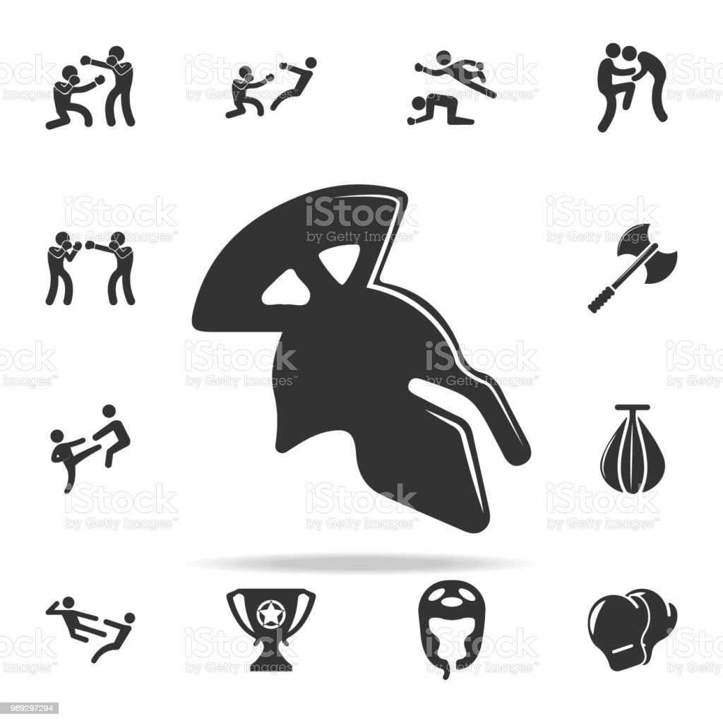 Roman Helmet Icon Set Of Cfight And Sparring Element Icons Premium
