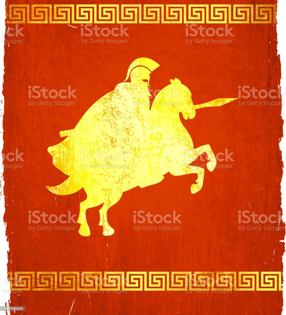 roman horseman soldier on royalty free vector Background royalty-free stock vector art