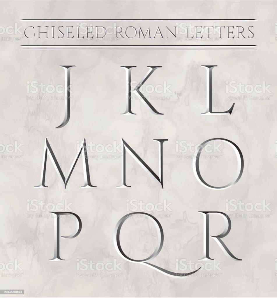 Roman letters chiseled in marble stone vector illustration letters j k l m n o p q r illustration