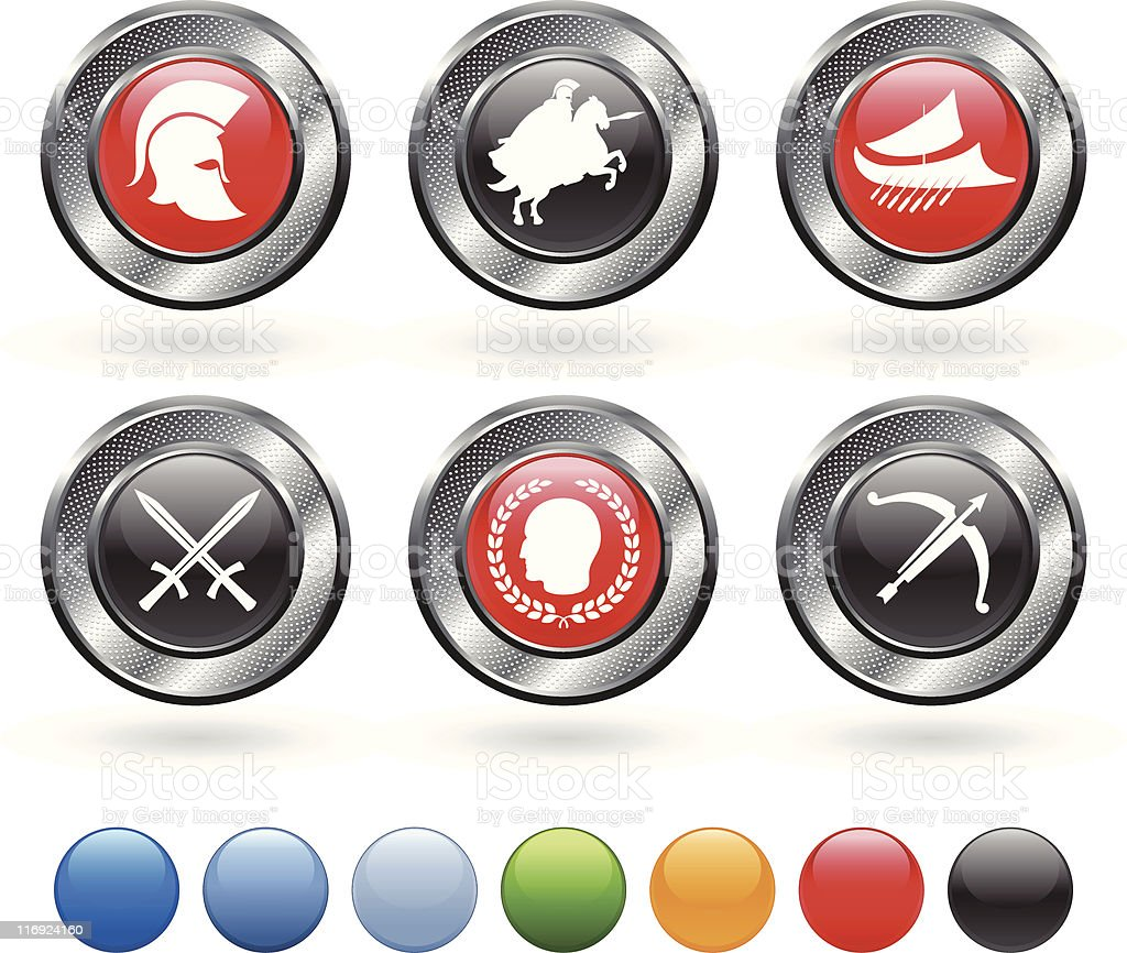 Roman military royalty free vector icon set on metallic button royalty-free stock vector art