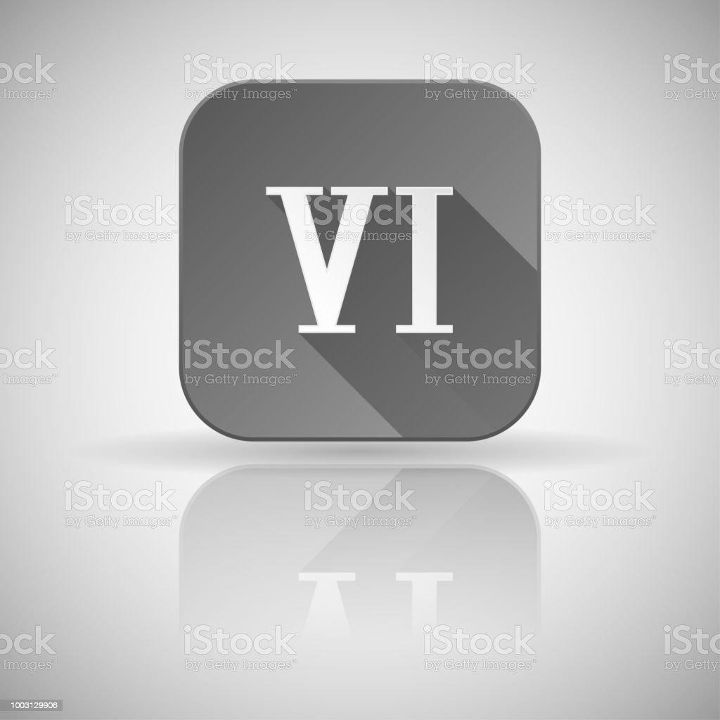Ilustración De Vi Número De Romano Icono Gris Cuadrado Con Reflexión