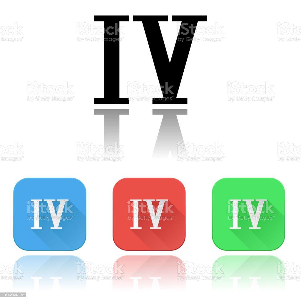 Chiffre Romain 4 icônes de iv de chiffre romain ensemble coloré avec réflexion