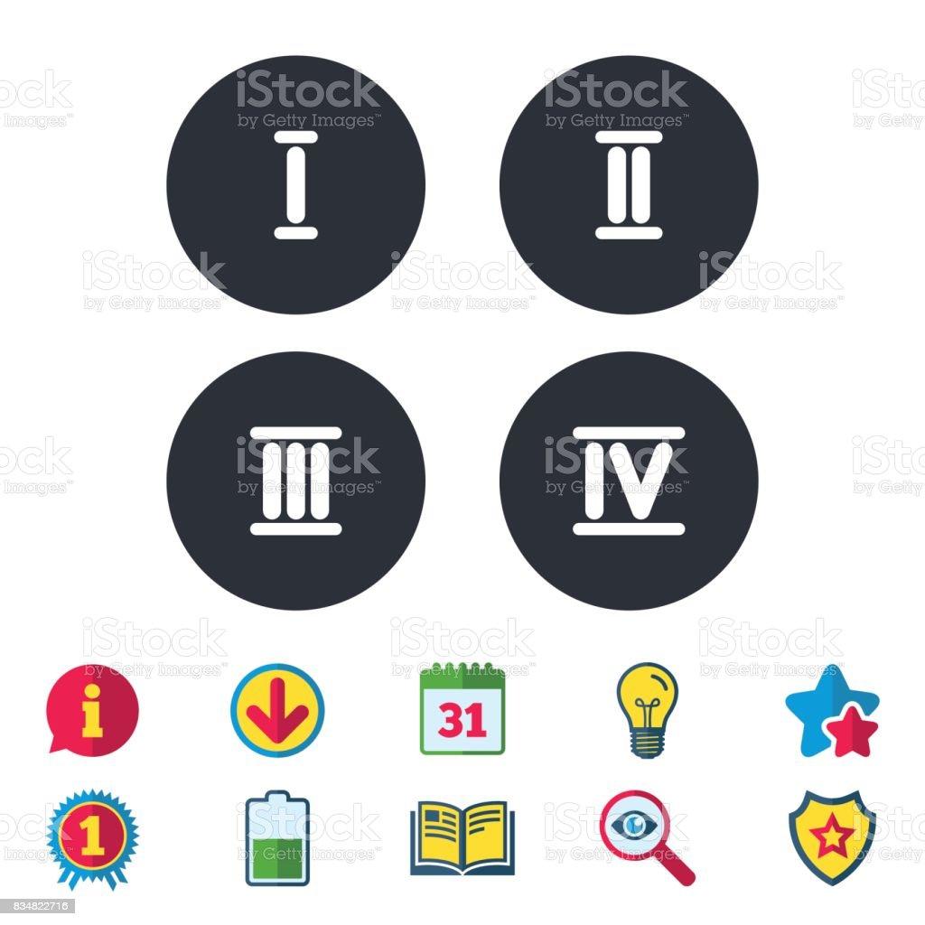 Ilustración De Número Romano Iconos Número Uno Dos Tres Y Más Banco