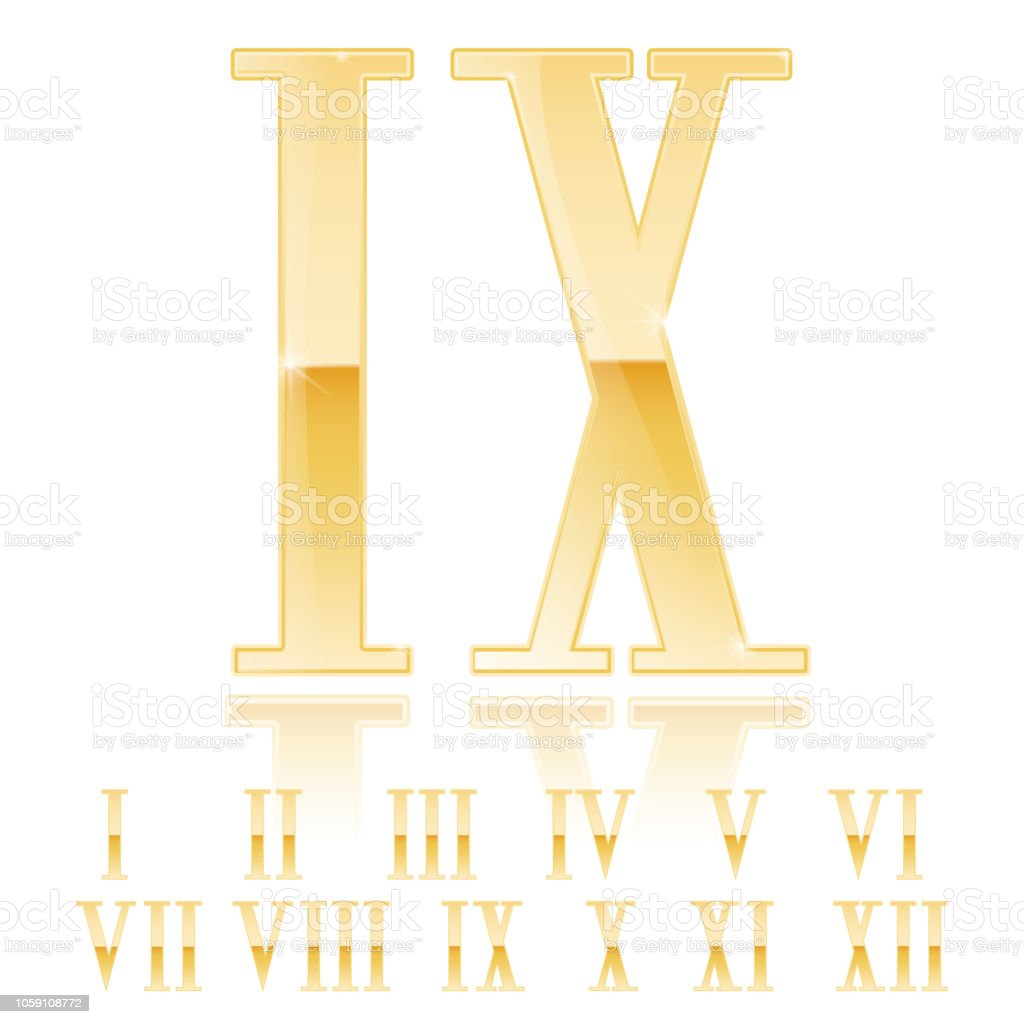 Roman Numeral Nine Golden 3d Sign Stock Vector Art More Images Of
