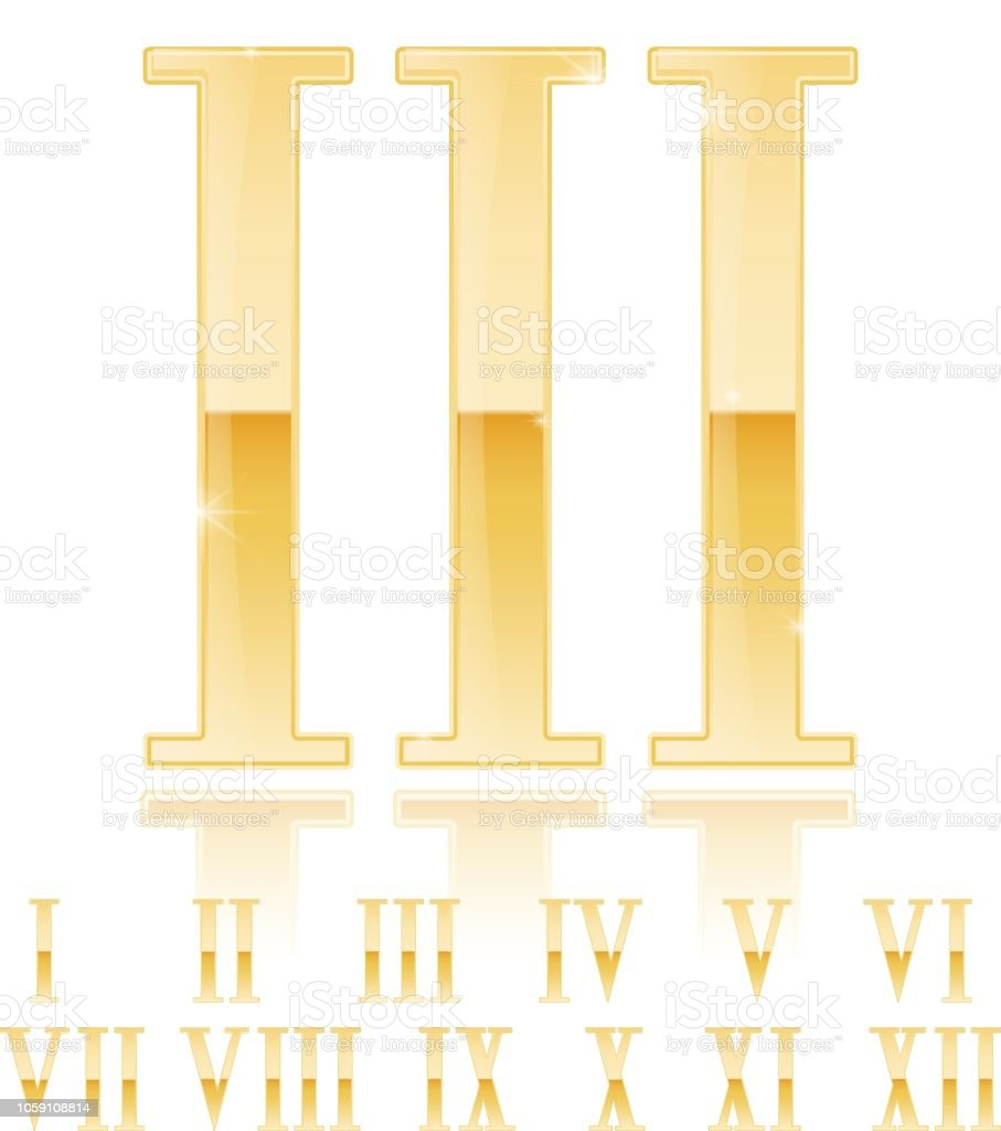 Roman Numeral Three Third Golden 3d Sign Stock Vector Art More