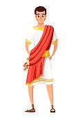 istock Roman senator or citizen. Cartoon character design. SPQR, man with scrolls. Flat vector illustration on white background 1133003006