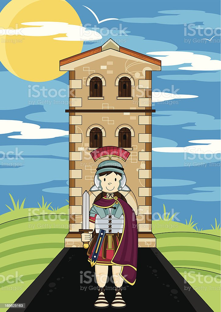 Roman Soldier Guarding Fort Tower royalty-free stock vector art