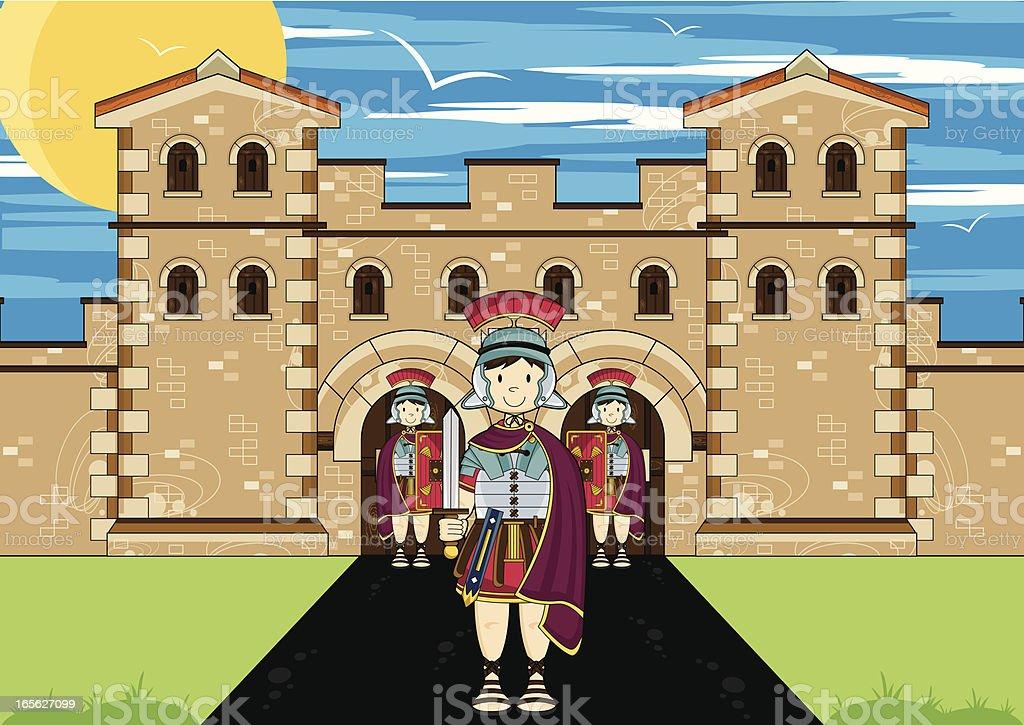 Roman Soldier Guarding Fort vector art illustration