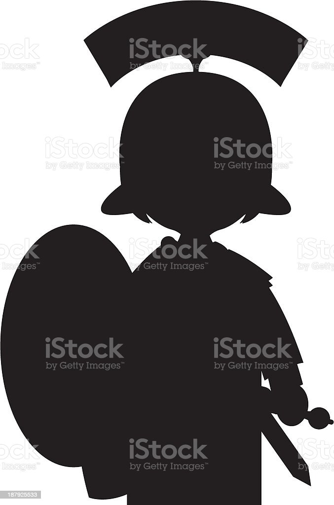 Roman Soldier in Silhouette royalty-free stock vector art