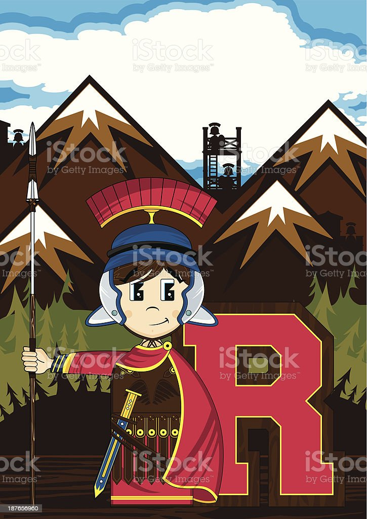 Roman Soldier Learning Letter R royalty-free roman soldier learning letter r stock vector art & more images of adult