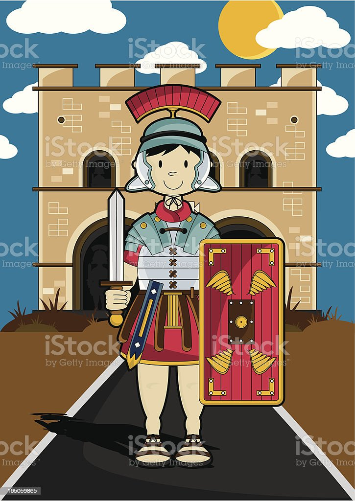 Roman Soldier with Fort Background royalty-free stock vector art