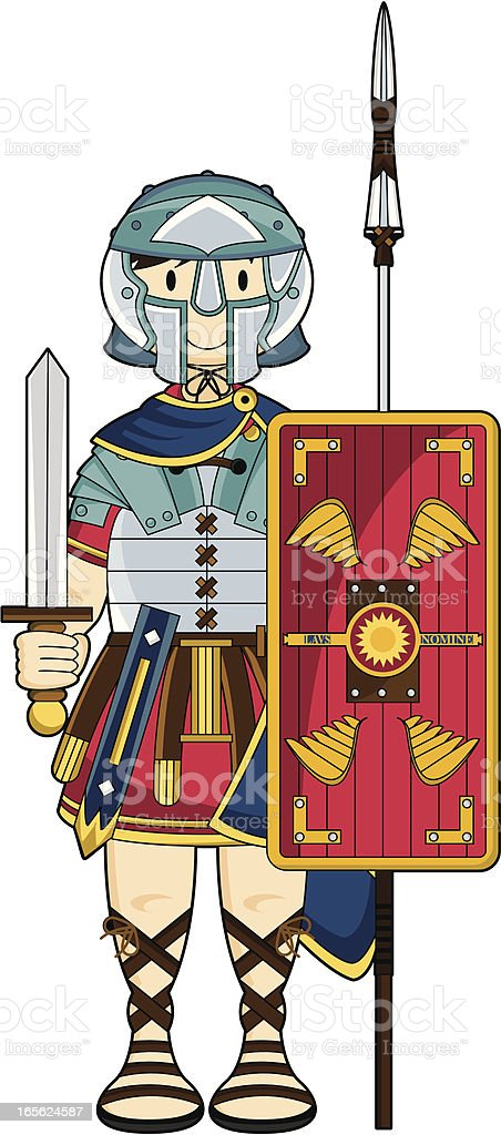 Roman Soldier With Shield Sword Spear Stock Illustration - Download